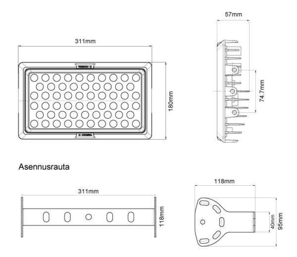 VDP025660TR VISION X VL SERIES AREA LIGHT 10-32V DC 100W 60° MITTAKUVA
